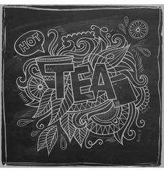 Tea hand lettering and doodles element On vector image
