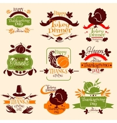 Thanksgiving emblems for greeting card design vector