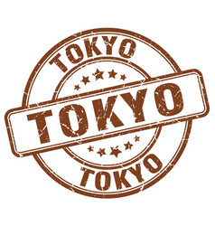 Tokyo brown grunge round vintage rubber stamp vector
