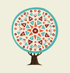tree with boho style hand drawn mandala vector image
