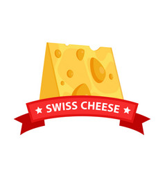 triangle swiss maasdam cheese piece vector image