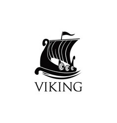viking ship logo symbol vector image