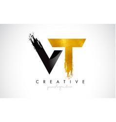 Vt letter design with brush stroke and modern 3d vector