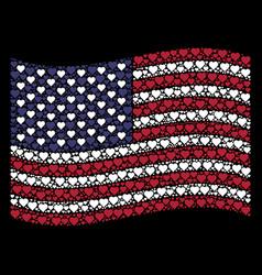Waving american flag stylization of valentine vector