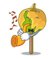 With trumpet candy apple mascot cartoon vector