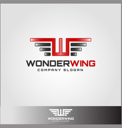 wonder wing - stylish letter w logo with wings vector image