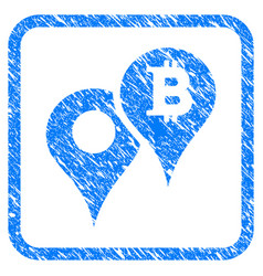 Bitcoin map markers framed stamp vector