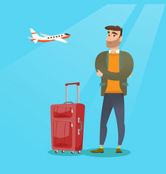 caucasian man suffering from fear of flying vector image vector image
