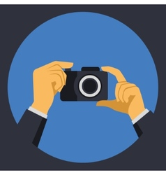Digital Photo Camera with Hands in Flat Retro vector image vector image