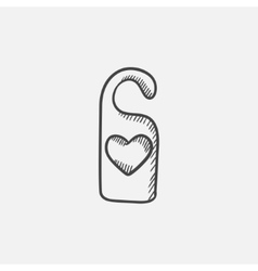 Door tag with heart sketch icon vector image vector image