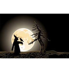 halloween poster with Jack and moon vector image vector image