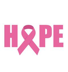 hope emblem with pink ribbon symbol vector image