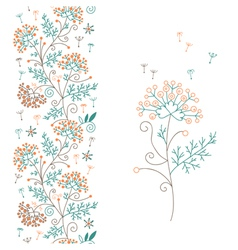 Seamless floral border and flower vector image vector image