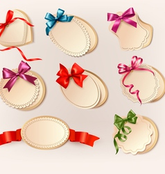 Set of beautiful retro labels with colorful gift vector image vector image