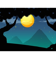Silhouette forest scene on fullmoon night vector