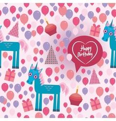 Funny unicorn Happy birthday seamless pattern vector image