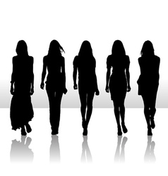 girls set silhouette icon vector image
