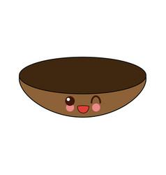 Kawaii bowl dishware food kitchen vector