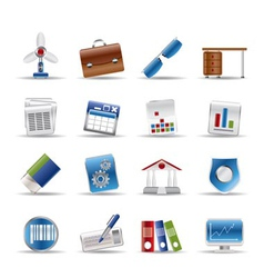 realistic business and office icons vector image