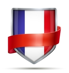 Shield with flag France and ribbon vector image