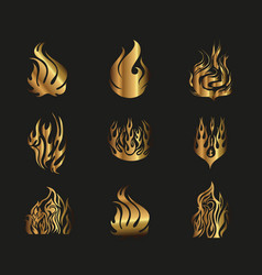 Symbols Gold Yellow Fire on Black Background vector image vector image
