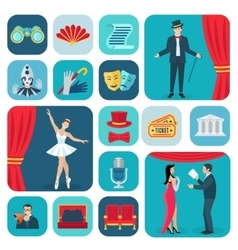 Theater Icons Flat Set vector image vector image