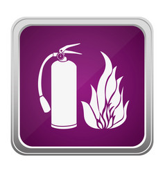 Violet square button relief with silhouette fire vector