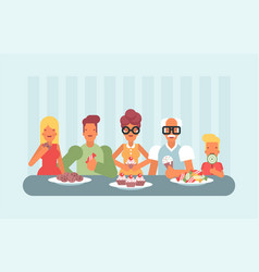 all ages enjoying sweets and ice cream vector image vector image