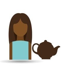character girl pot coffee icon graphic vector image