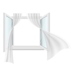Open window and fluttering curtains vector
