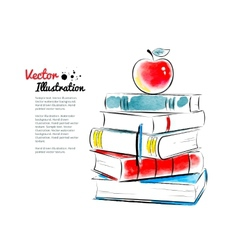 Red apple on books vector image vector image