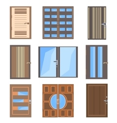 Set isolated combined doors vector image
