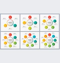 Set of circle chart templates with 3 4 5 6 7 8 vector