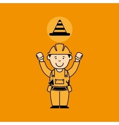 Avatar man construction worker with cone warning vector