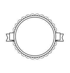 black circle label with lacy border vector image