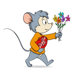 cartoon cute mouse with heart gift box and flowers vector image