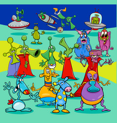 comics aliens fantasy characters group vector image