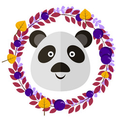 panda and leafy wreath separated vector image vector image