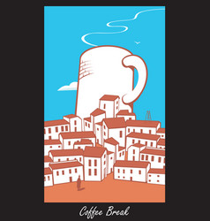 scene with a cup of coffee in town vector image vector image