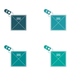 Set of stylish sticker on paper envelope and money vector
