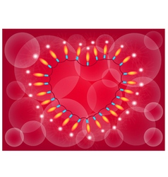 A Heart Lights Frame on Red Background vector image