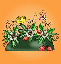 a summer floral arrangement vector image