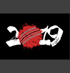 abstract number 2019 and a cricket ball from blots vector image