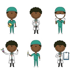 African-American doctor and health worker vector