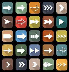 Arrow flat icons with long shadow vector image