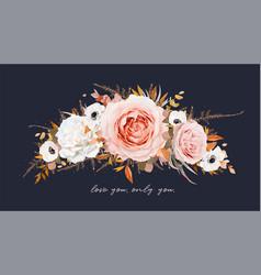 autumn winter floral wreath bouquet design vector image