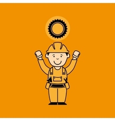 Avatar man construction worker with gear engine vector