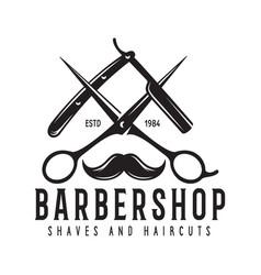 barber shop badge barbers hand lettering design vector image