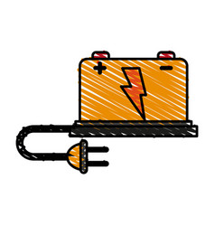 battery cartoon doodle vector image