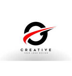 Black and red creative o letter logo design with vector